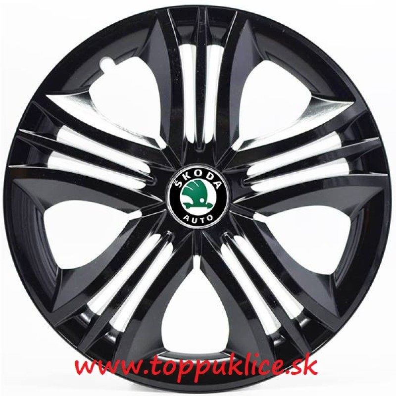 "PUKLICE PRE SKODA GREEN 15"" FUN black 4ks"