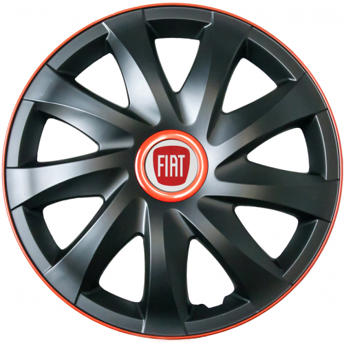 "PUKLICE PRE FIAT RED 15"" KANDO race/black 4ks"