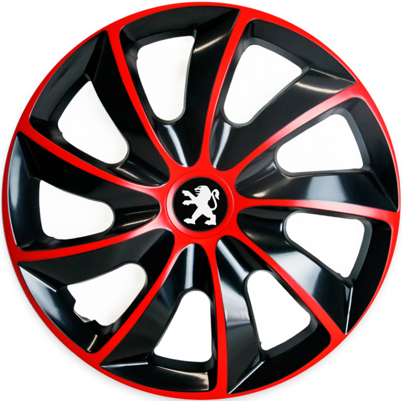 "PUKLICE PRE PEUGEOT 15"" QUAD red/black 4ks"