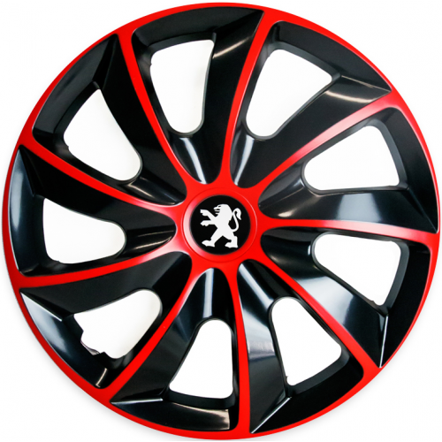 "PUKLICE PRE PEUGEOT 16"" QUAD red/black 4ks"