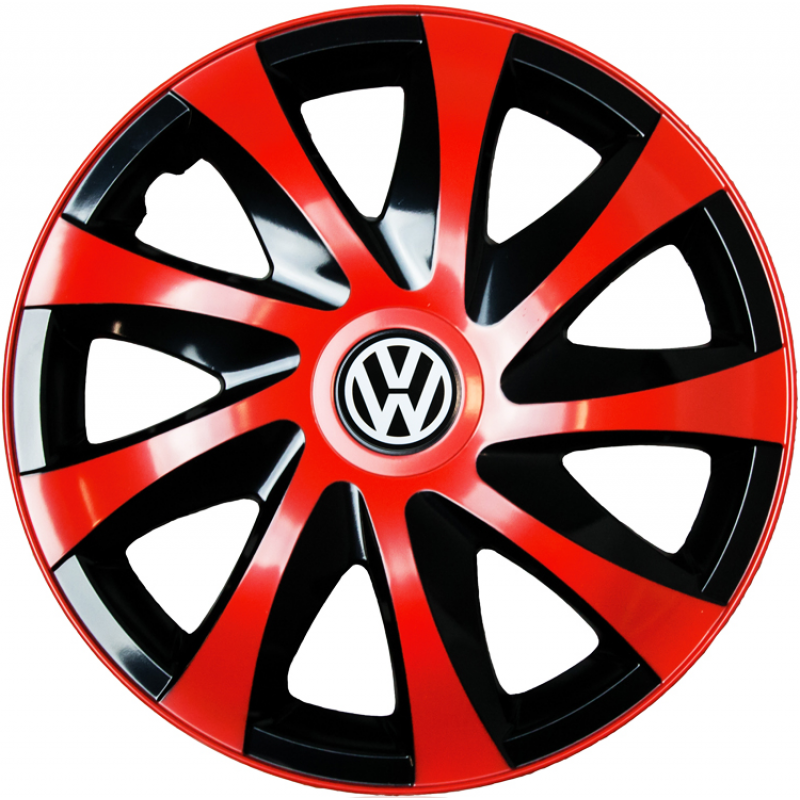 "PUKLICE PRE VW 14"" DRACO red/black 4ks"